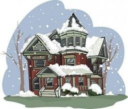 Large house logo snow