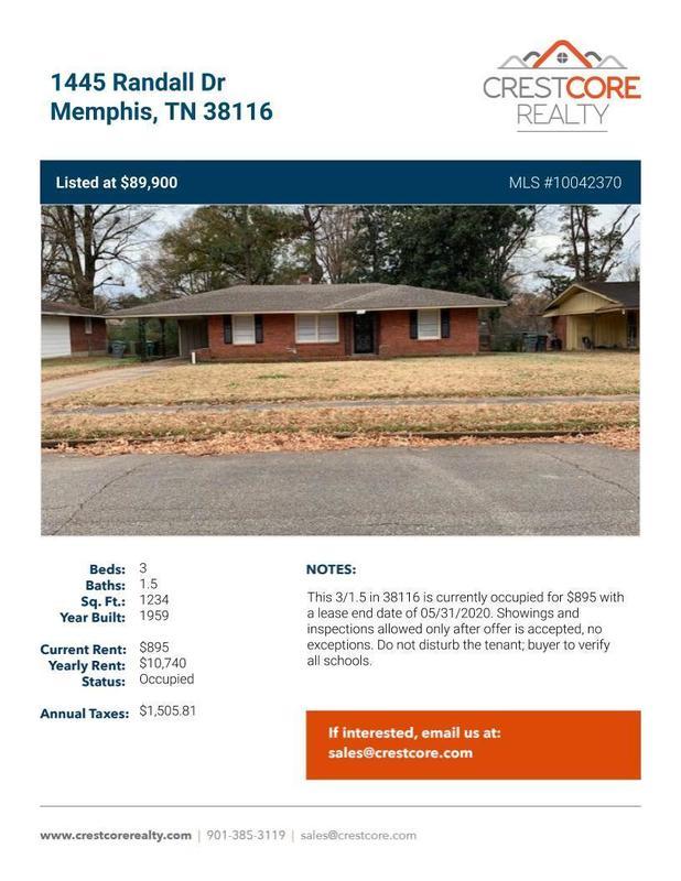 1445 Randall Dr Memphis, TN 38116 OccupiedBiggerPockets