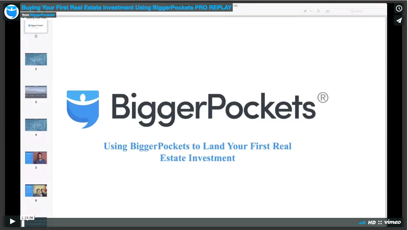Buying your first real estate investment using biggerpockets