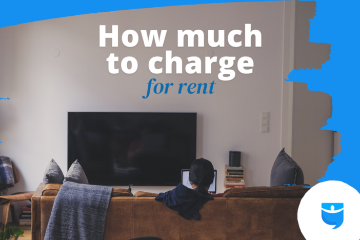 """woman on couch with """"how much to charge for rent"""" superimposed over image"""