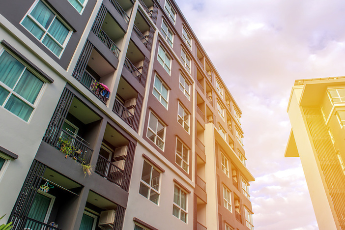 Modern apartment buildings exteriors or Contemporary Architecture Office In The City.