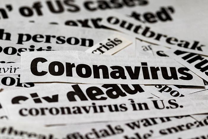 Coronavirus, covid-19 newspaper headline clippings
