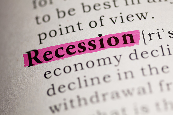 dictionary entry defining the word recession which is highlighted in pink