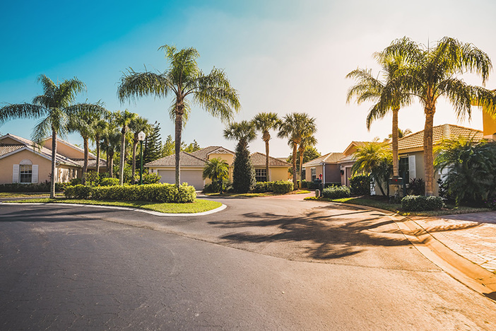 Typical gated community houses with palms, South Florida.