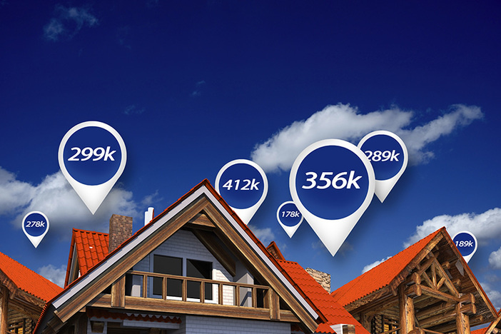Real Estate Market Blue Price Tags Above Properties. House Prices.