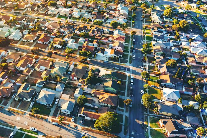 Aerial view of of a residential neighborhood in Hawthorne, in Los Angeles, CA
